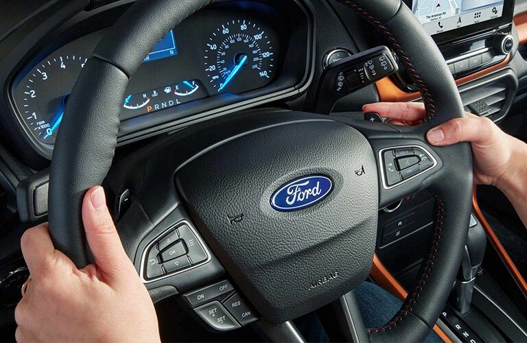 Steering wheel and gauges inside 2019 Ford EcoSport
