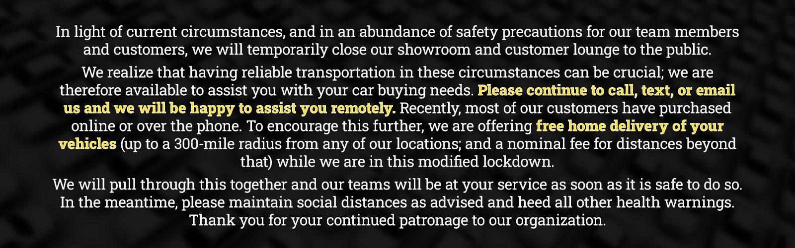 Showroom Closed Temporarily