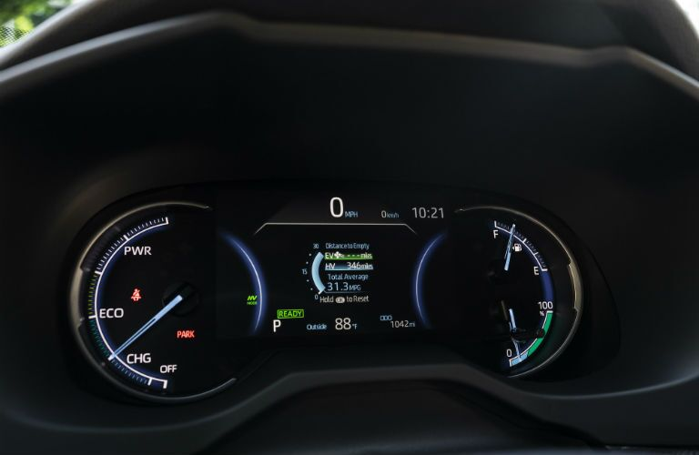 A photo of the center gauge cluster in the 2021 Toyota RAV4 Prime.