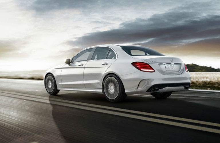 2018 Mercedes-Benz C300 Sedan driving on a cloudy day