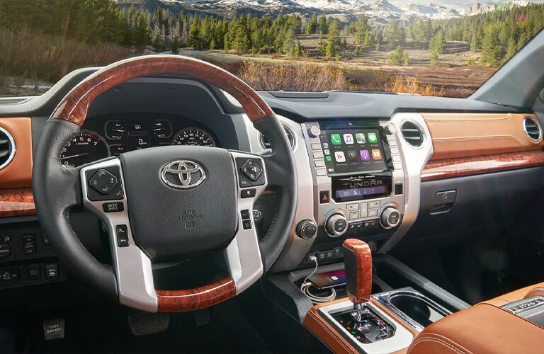 Steering wheel and center console in the 2021 Toyota Tundra