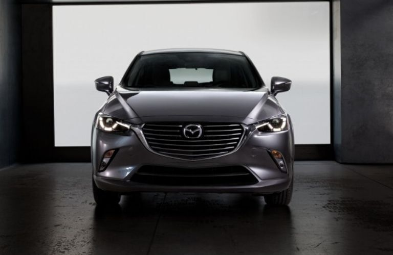 Exterior view of the front of a gray 2020 Mazda CX-3