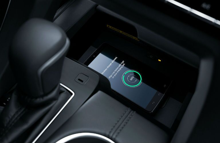 A photo of the wireless charging tray for smartphones in the 2021 Toyota Avalon.