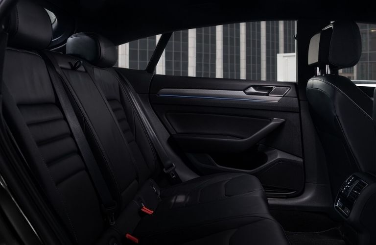 Interior view of the rear seating area inside a 2020 Volkswagen Arteon