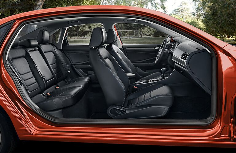 Interior front and rear rows of the 2021 Volkswagen Jetta as seen from the side