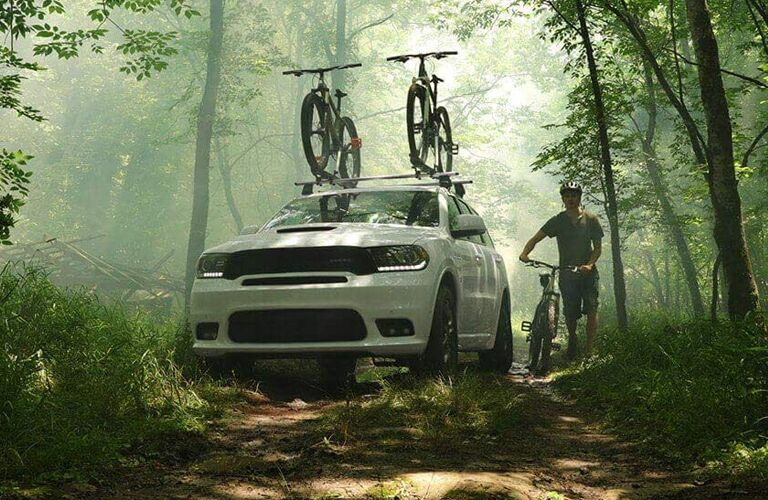 White 2020 Dodge Durango on a trail in the wilderness