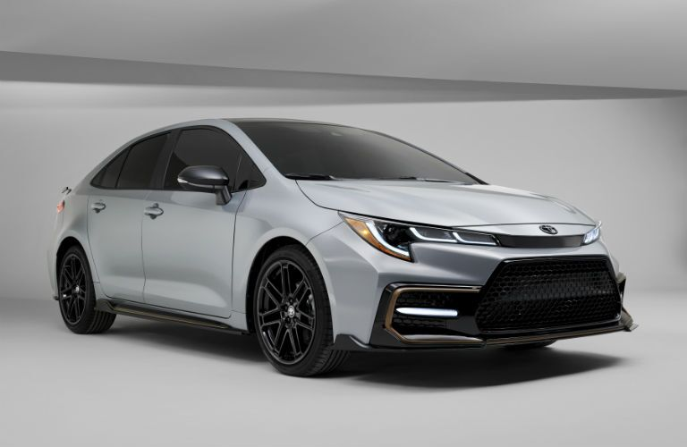 A front right quarter photo of the 2021 Toyota Corolla Apex Edition..