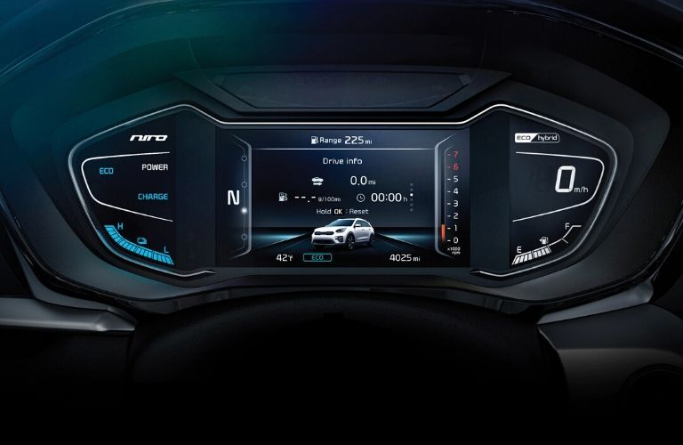 Closeup interior view of the multi-information display available inside the 2020 Kia Niro Plug-In Hybrid