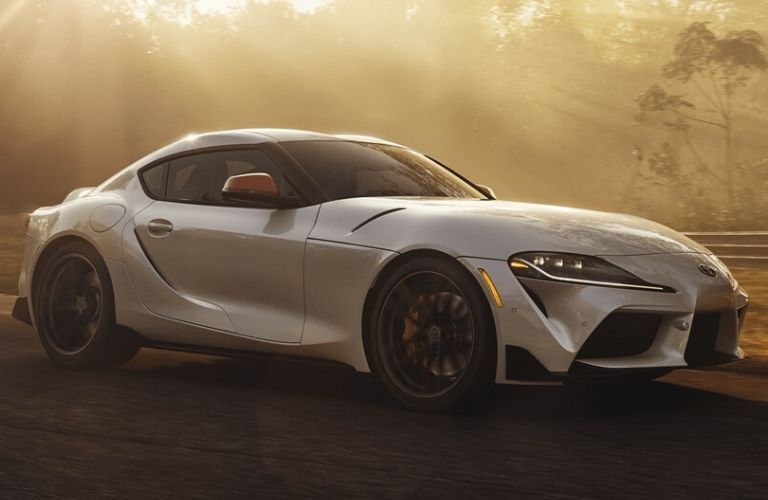 Exterior view of the front of a silver 2020 Toyota GR Supra