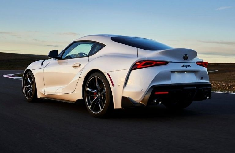 Exterior view of the rear of a white 2021 Toyota Supra