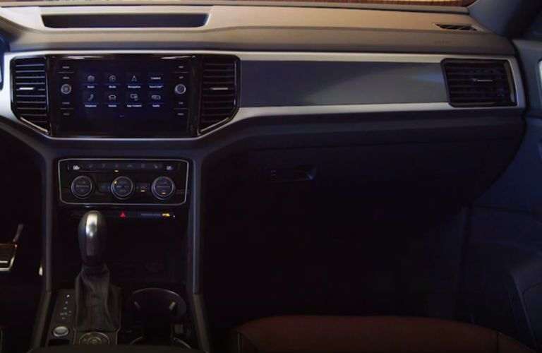 closeup of infotainment in 2020 vw atlas cross sport suv