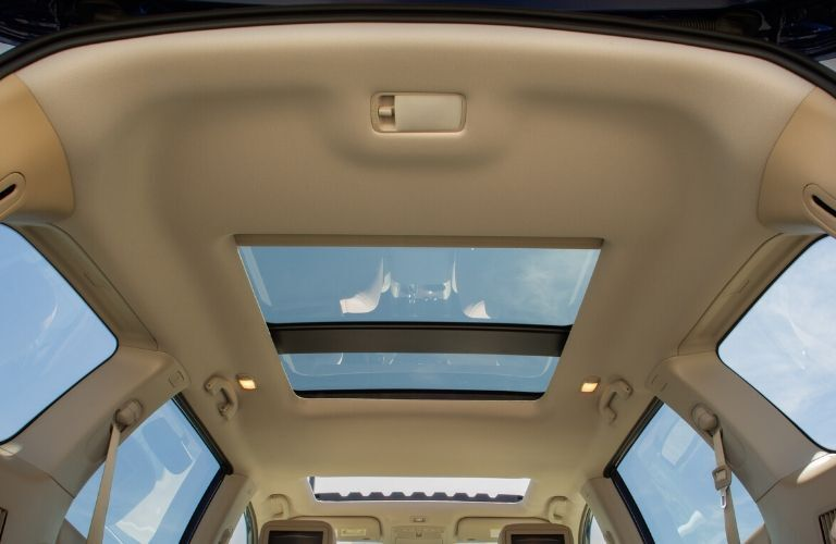 Interior view of the dual panorama moonroof inside a 2020 Nissan Pathfinder