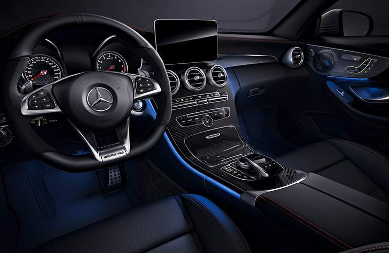 Steering wheel in the 2018 Mercedes-Benz AMG C 43