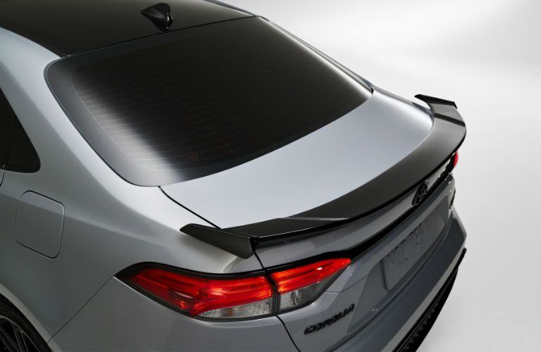 A photo of the rear spoiler used by the 2021 Toyota Corolla Apex Edition.