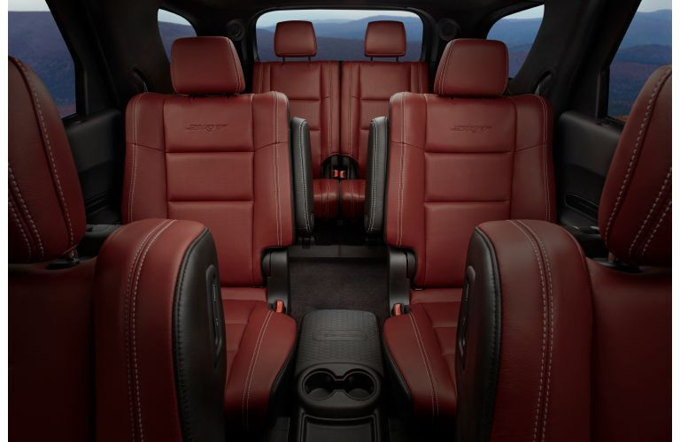 2020 Dodge Durango SRT interior shot of 3-row seating in red leather upholstery