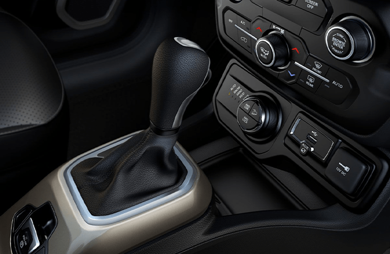 Closeup of gear shifter in 2020 Jeep Renegade