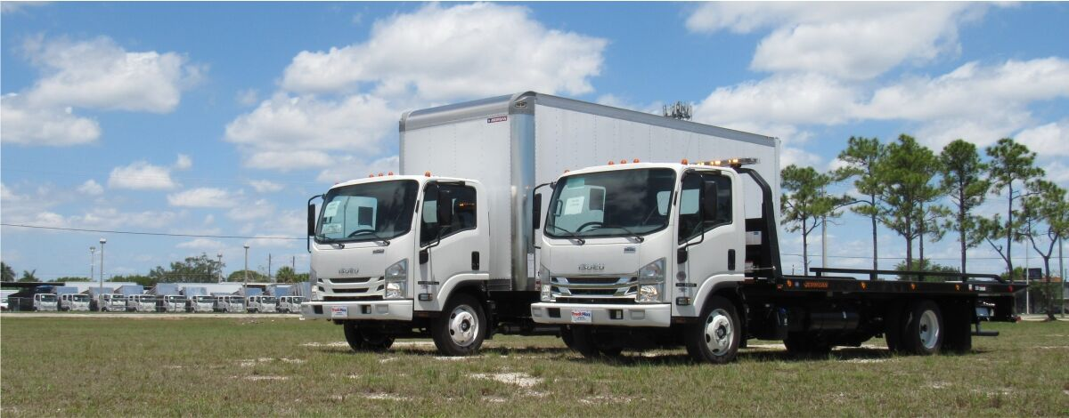 Isuzu Trucks rollback wrecker and dry freight trucks