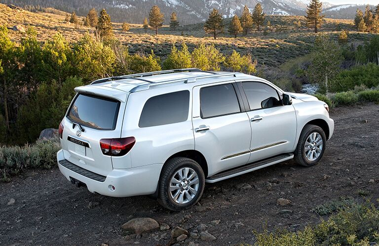 2020 Toyota Sequoia parked on side of hill overlooking valley