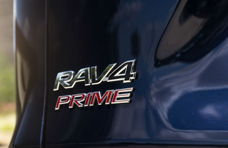A photo of the RAV4 Prime badge used on the 2021 Toyota RAV4 Prime.
