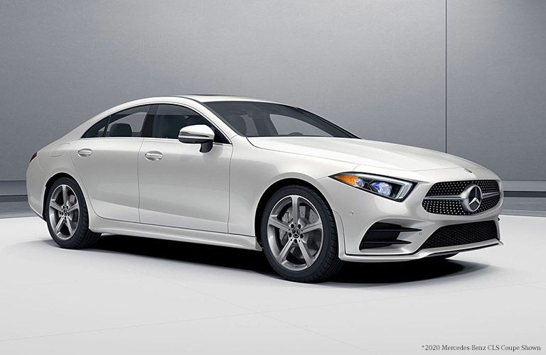 2021 MB CLS exterior front fascia passenger side in gray and white room
