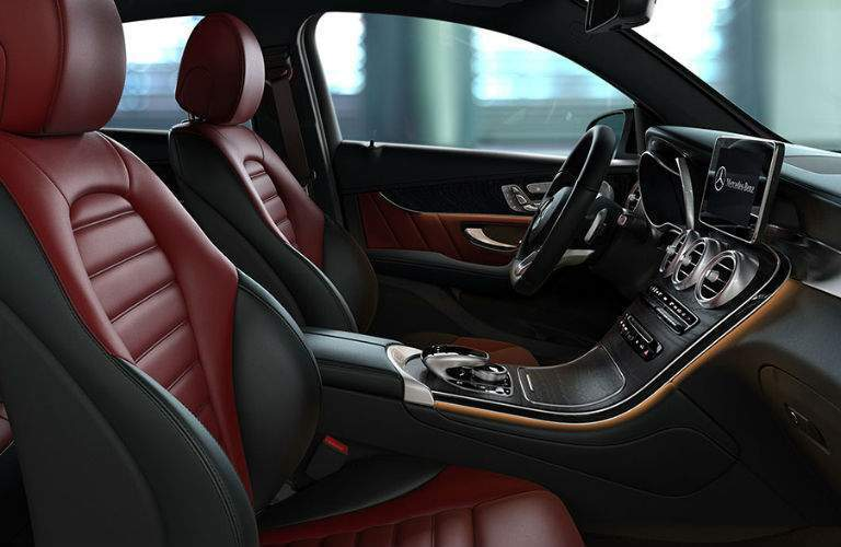 A photo of the front seats in red upholstery in the 2018 Mercedes-Benz GLC Coupe.