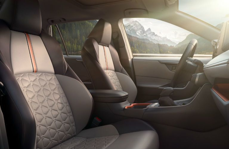 A photo of the front seats in the 2020 Toyota RAV4.
