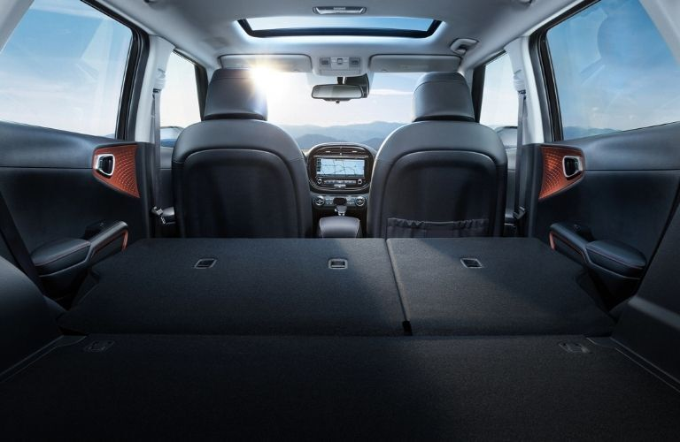 Interior view of the rear cargo area inside a 2021 Kia Soul