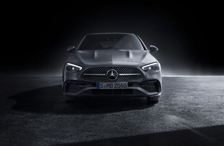 2022 MB C-Class exterior front fascia with dramatic lighting