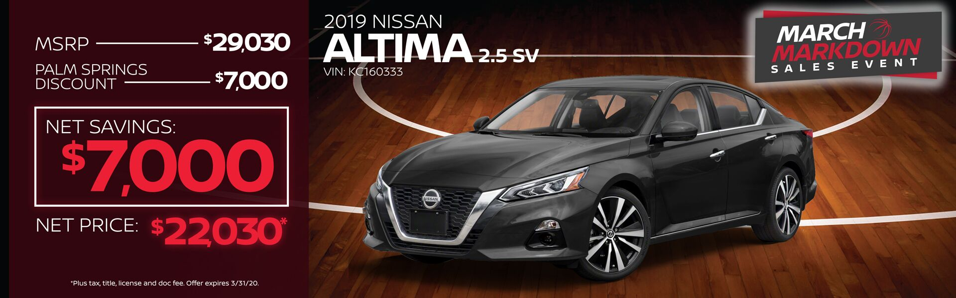 2019 Altima $7,500 Palm Springs Discount