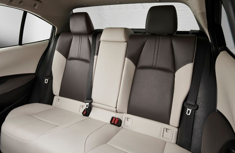 Interior view of the rear seating area inside a 2020 Toyota Corolla