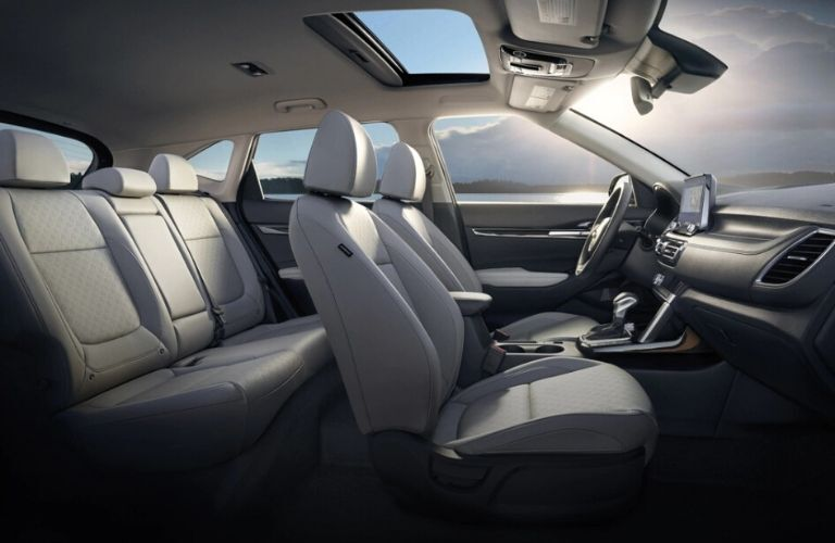 Interior view of the two rows of seating available inside the 2021 Kia Seltos