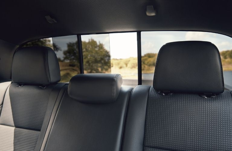Interior view of the rear seating and window inside a 2021 Toyota Tacoma