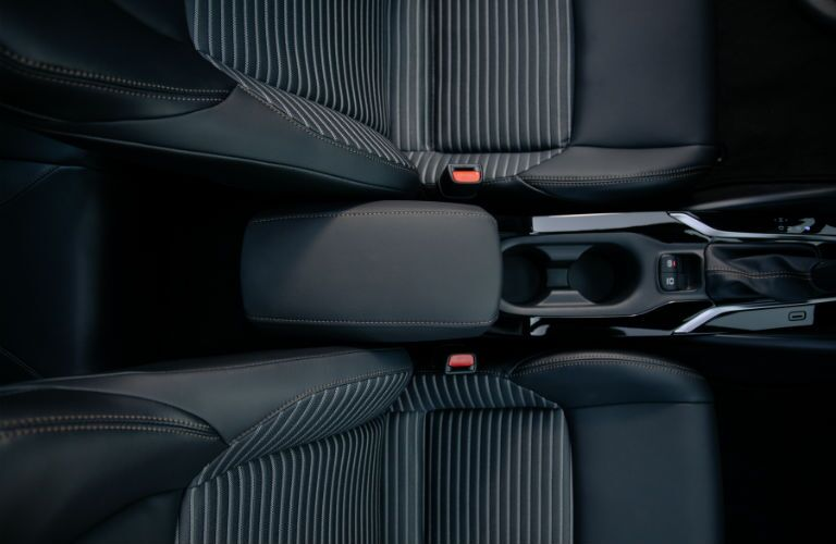 An overhead photo of the center console in the 2021 Toyota Corolla.