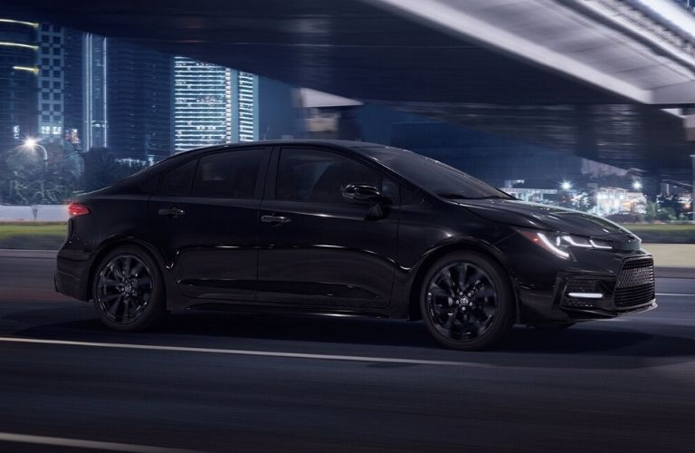 Exterior view of a black 2020 Toyota Corolla