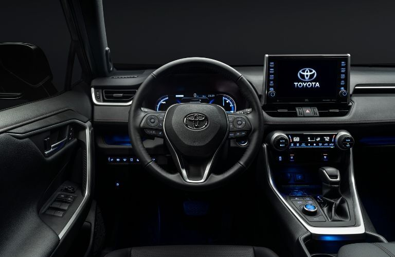 Steering wheel and infotainment display in 2021 Toyota RAV4 Prime