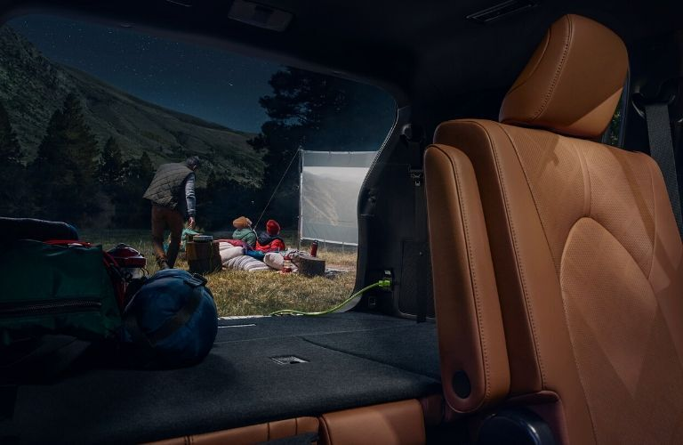 Interior view of the rear cargo area inside a 2020 Toyota Highlander