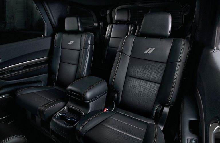 Interior view of the rear seating area available inside a 2020 Dodge Durango