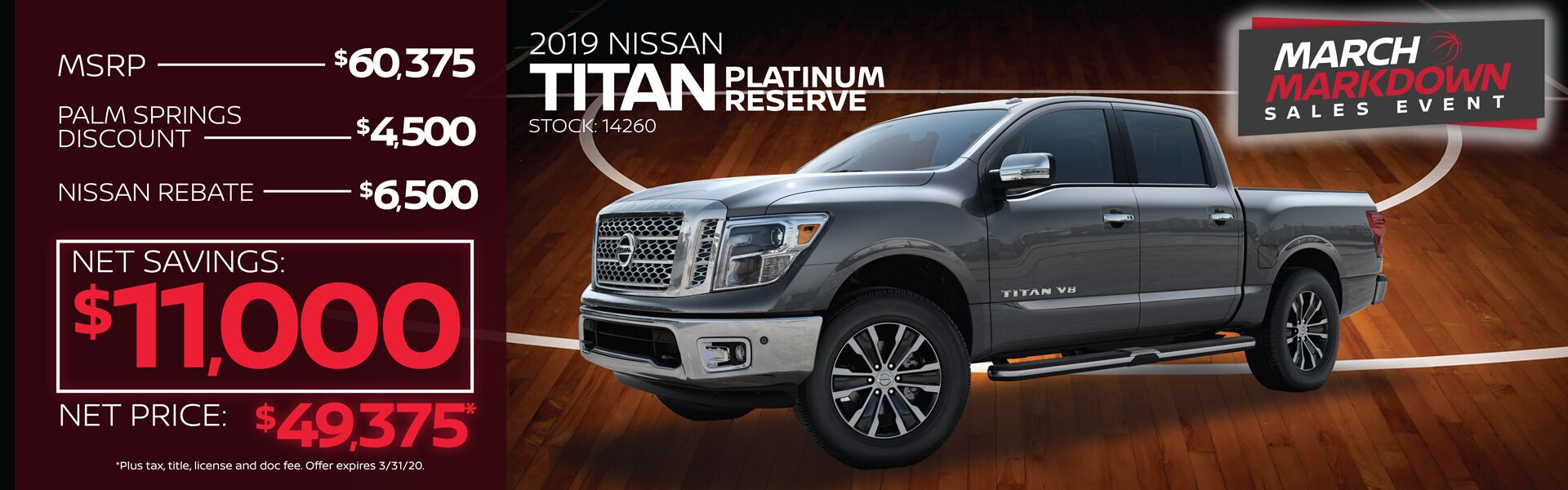 2019 Nissan Titan Net Savings $11,000