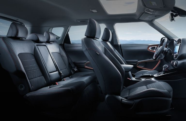 Interior view of the seating inside a 2021 Kia Soul