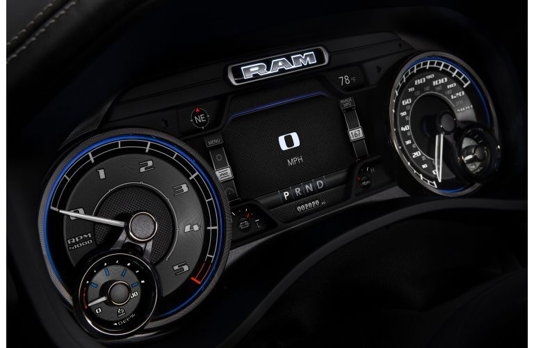 2020 Ram 1500 EcoDiesel interior closeup shot of limited driving display cluster