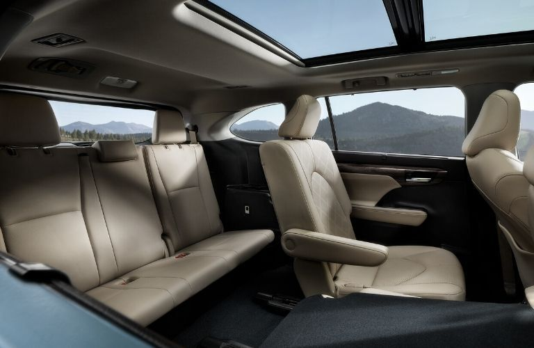 Interior view of the rear seating area inside a 2020 Toyota Highlander