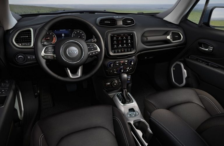 2020 Jeep Renegade interior dash and wheel view