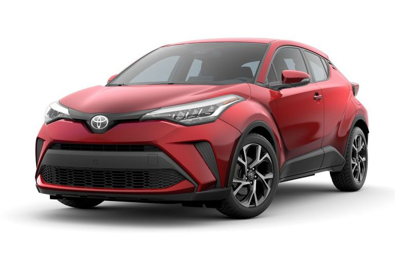 Front/side profile of a red 2020 Toyota C-HR