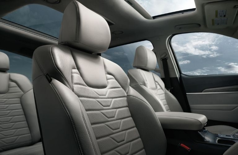 Interior view of the rear seating available inside a 2021 Kia Telluride