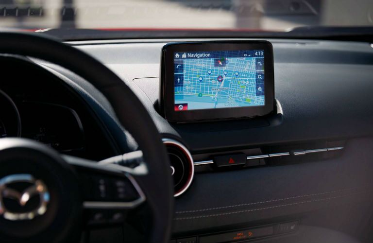 Center touchscreen and steering wheel inside 2019 Mazda CX-3