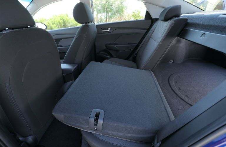 2020 Hyundai Accent with back seat folded down