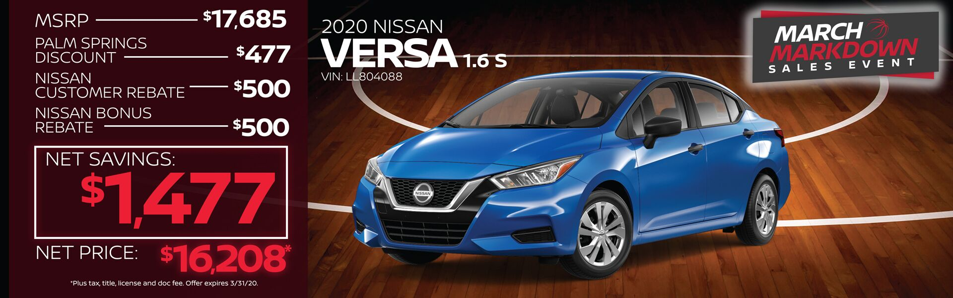 2020 Nissan Versa $1,477 Net Savings