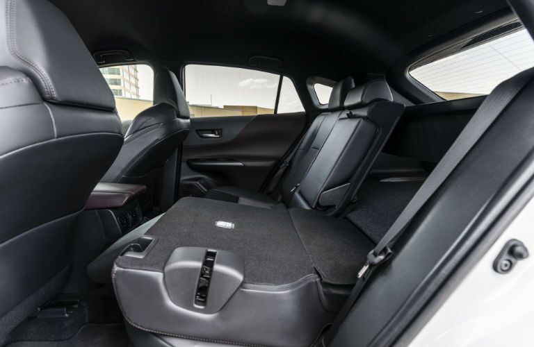 A photo of the rear seats folded down in the rear of the 2021 Toyota Venza.