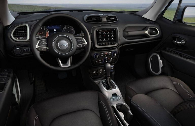 Interior view of the front seating area inside a 2020 Jeep Renegade