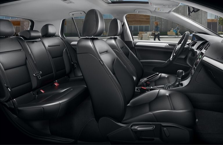 Interior view of the seating available inside a 2020 Volkswagen Golf